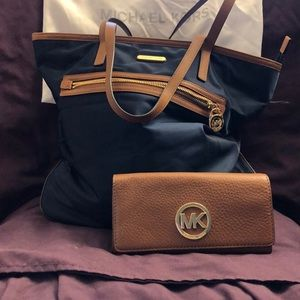Navy blue and camel tote